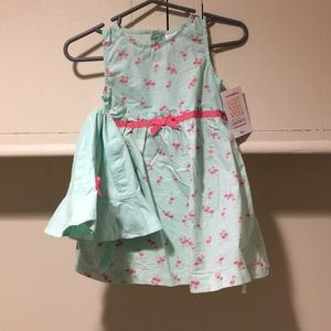 Carters flamingo dress with had nwt